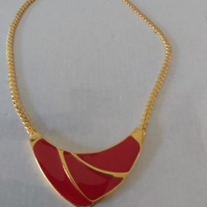 Golden + Red Necklace **VERY CHIC**